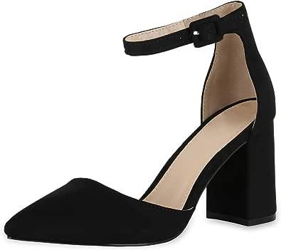 SCARPE VITA Damen Spitze Pumps mit Blockabsatz Chunky Heels