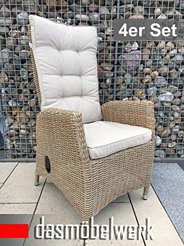 dasmöbelwerk 4er Set Polyrattan Hochlehner mit Sitzpolstern Rattan Stuhl Relax Sessel Gartenmöbel...