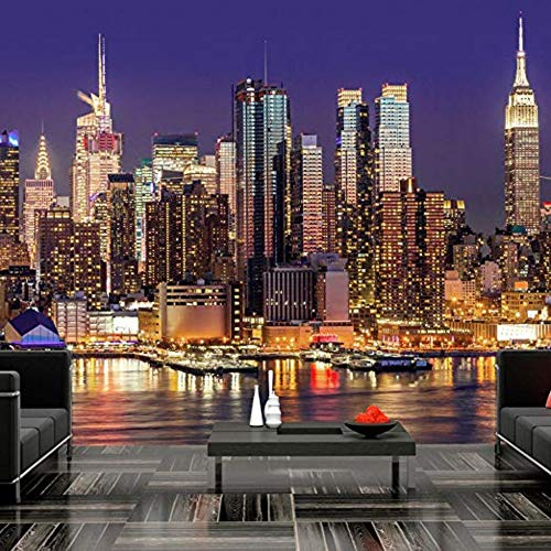 Fototapete Non Woven Premium Kunstdruck Fleece Fototapete Dekoration Poster Bild Design Moderne Wolkenkratzer In New York City Manhattan-345cm(W) x230cm(H)