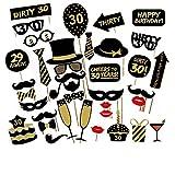 Veewon 30. Geburtstagsfeier Fotorequisiten Fotostand Requisiten Unisex-lustige 36pcs DIY Kit geeignet für seine oder ihre 30. Geburtstagsfeier Fotobooth Stütze