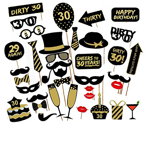 30th Birthday Party Photo Booth Props KIt