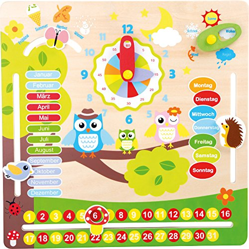 Holzspielzeug Lernuhr Lerntafel mit Tieren erlernen von Datum, Uhrzeit, Wetter, Jahreszeiten aus Holz • Spielzeug Lernspielzeug Lernspiel Lernspielel