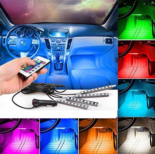 LED Auto Innenleuchten, 4DC12V 36LEDs RGB 16Farben LED-Streifen Licht, Auto Styling Deko Lichter, Auto Styling Atmosphäre Lampen mit Fernbedienung Controller, KFZ-Ladegerät im Lieferumfang enthalten