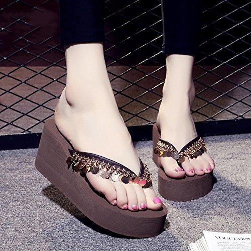 Estate Sandali 7 cm Sandali da spiaggia antisdrucciolevoli dell'alta tibia di estate Pattini casuali di modo (Brown, Nero, Grigio, Bianco) Colore / formato facoltativo Marrone
