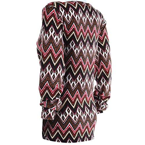 BEZLIT - T-shirt de sport - Avec nœud - Uni - Col Rond - Manches Longues - Femme Rouge