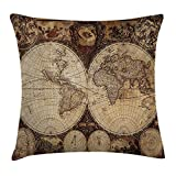 Travel Throw Pillow Cushion Cover, Old World Map Drawn in 1720s Nostalgic Style Art Historical Atlas Vintage Design, Decorative Square Accent Pillow Case, 18 X 18 inches, Multi