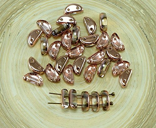 30pcs Capri Oro di Cristallo di Mezza Luna a Forma di Due Fori, ceca, Perle di Vetro 8mm x 4mm