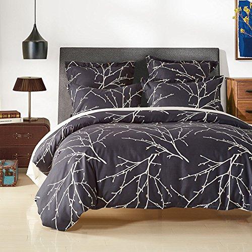 dushow Tree Pattern Bettwäsche 3-Teiliges Bettbezug-Set wendbar Druck mit gebürstetem Mikrofaser, leicht, weich, bequem, langlebig, baumwolle, multi, Double(200cm*200cm) Passendes Twin-bettdecken