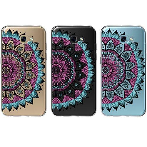 Samsung Galaxy A5 2017 ( A520F ) Hülle Schwarz Backcover Silikon Schutzhülle im Basic Design Cover aus TPU Rückschale Mandala 4