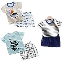 DEYOU Lot de 6 Shorts à Demi Manches T-Shirt Courtes pour bébé garçon: 6 Mois-5 Ans