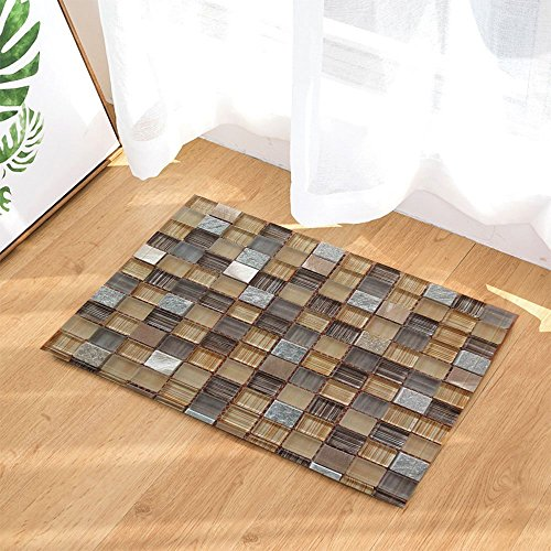Mosaic Decor Checkered Mosaic Style Squares Mosaic Pattern Shower Mats Non-Slip Floor Entryways Outdoor Indoor Front Door Mat,60x40cm Bath Mat Bathroom Rugs