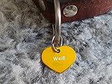Gravuren.store 2 Stück Hunde-Katzenmarke Herz, Adressanhänger aus Aluminium, (24,5mm X 20mm S, Gold)