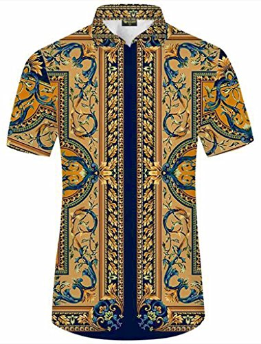 Pizoff Herren Hemdkragen mit kurz Ärmeln fashion Hip-Hop Tops Hemden mit floral blumen luxus palace muster Y1782-12-XXL