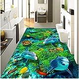 Xbwy Benutzerdefinierte 3D Private Boden Tapete Wandbild Cartoon Undersea World Turtle Coral Dolphin Kinderbettwäsche Zimmer Selbstklebendes Tapeten-250X175Cm