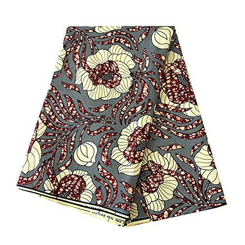 6Meter afrikanischen Wachs Stoff Material 100% Baumwolle Dashiki Gedruckt Echt Floral für Kleid Nigerianisches French l ()
