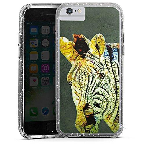 Apple iPhone X Bumper Hülle Bumper Case Glitzer Hülle Zebra Dschungel Farbe Bumper Case Glitzer silber