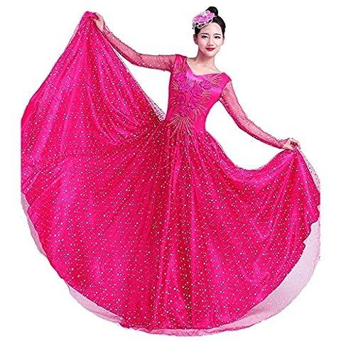 Byjia Klassische Frauen Tanz Lange Kleider Erwachsene Eröffnung Big Rock Druck Stickerei Sequins Diamond Nation Bühne Aufführungen Kostüme Gruppen Team Outfit Modern Chorus Rose Red (Groß Nation-kostüm Für Erwachsene)