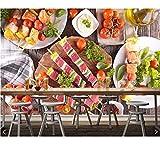 Weaeo Fleischprodukte Gemüse Food Fototapete Wandbild Für Wohnzimmer Küche Fast-Food-Shop Restaurant Bar-250X175Cm