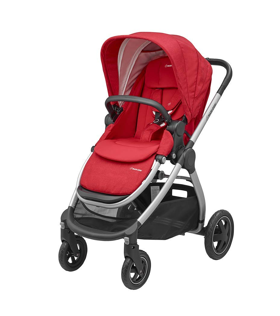 Maxi-Cosi Adorra Comfortable Urban Pushchair from Birth, Full Reclining Seat, 0 Months - 3.5 Years, 0 - 15 kg with Rock Baby Car Seat Group 0+,ISOFIX, i-Size Car Seat, Rearward-Facing, 0-12 m, Nomad Red, 0-13 kg Maxi-Cosi Cocooning seat - the luxury of a large padded seat for baby Lightweight - a light stroller less than 12kg that makes walking effortless Excellent safety rating: complies with the latest i-size (r129) car seat legislation 2