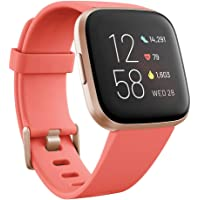 Fitbit Versa 2 Health & Fitness Smartwatch with Voice Control, Sleep Score & Music, Blossom, with Alexa Built-in