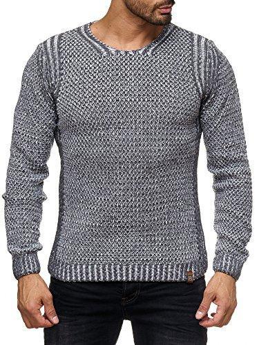 Kickdown Strickpullover Herren Warme Pullover Grobstrick Pulli Sweatshirt 17002 Anthrazit
