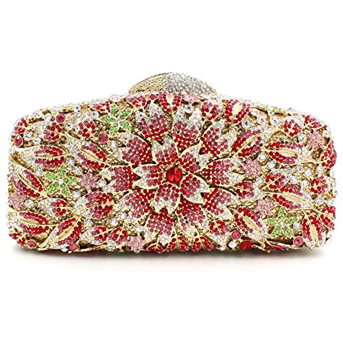 Damen Clutch Abendtasche Handtasche Geldbörse Glitzertasche Strass Kristall Blühen Kuss Schloss Tasche mit wechselbare Trageketten von Santimon(8 Kolorit) Rot