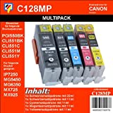 C128MP - Multipack - 5 TiDis Ersatzdruckerpatronen -KCMYK- für PGI-550XL und CLI551XL