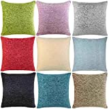 "Ideal Textiles, Luxury Cushion Covers, Plain Chenille Cushion Cover, 18"" x 18"", 45cm x 45cm (Duck Egg)"