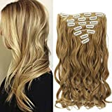 """Neverland Beauty 22"""" Full Head Clip extensions de cheveux Hair Extensions , Wavy-7 Piece with 16 clips,Honey Blonde"""