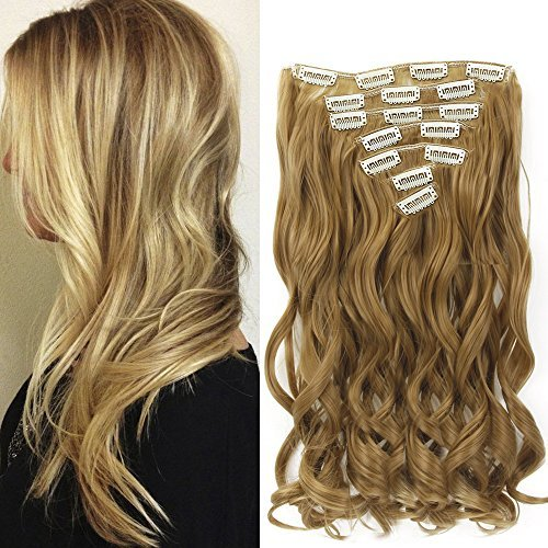 Neverland Beauty 22' Full Head Clip Extensión del pelo Hair Extensions , Wavy-7 Piece with 16 clips, Honey Blonde