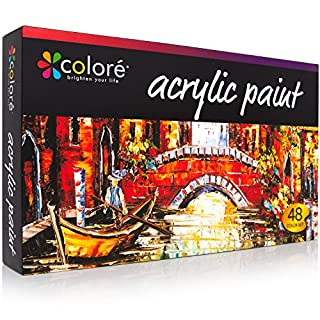 COLORE VIBRANT LIFE - Hochwertiges Acrylfarben Set - 48 (22ML) Tuben mit VibrancePro Rich Pigment Technologie – Farbset für Anfänger und Profis.