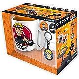 Naruto Shippuden - Keramik Tasse Riesentasse 460 ml + Schlüsselanhänger + 2 Buttons - Naruto & Kakashi - Geschenkset