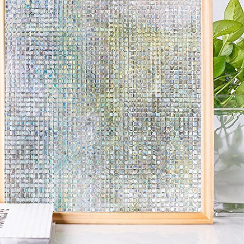 Homein 3D Window Film Privacy Opaque Glass Sticker Self Adhesive Rainbow Effect Mosaic Pattern 90 x 200 CM Thick Upgrade Frosting Vinyl Cover Obsure Cling Door Blinds for Bedroom Christmas Decoration