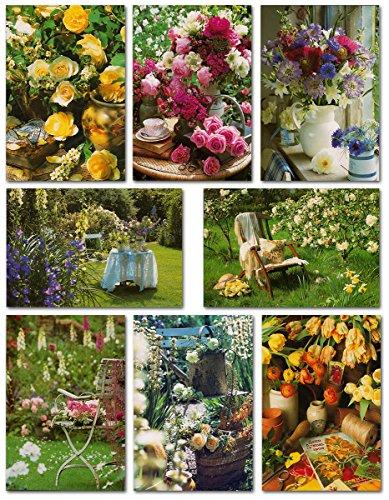 50 Grußkarten Klappkarten mit 50 Umschlägen Blumen & Garten - 8 Motive - Markenware - Glückwunschkarten 99-1960 (Grußkarte Blume)