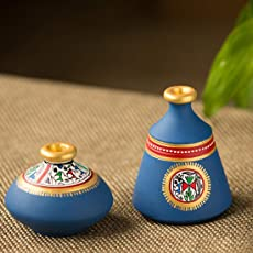 ExclusiveLane Terracotta Warli Handpainted Set of 2 Pots in Blue -Vases Decorative Gift Item Home Décor Showpieces