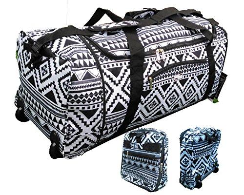 32-inch-large-folding-wheeled-travel-sports-cargo-holdall-duffle-bag-aztec-black
