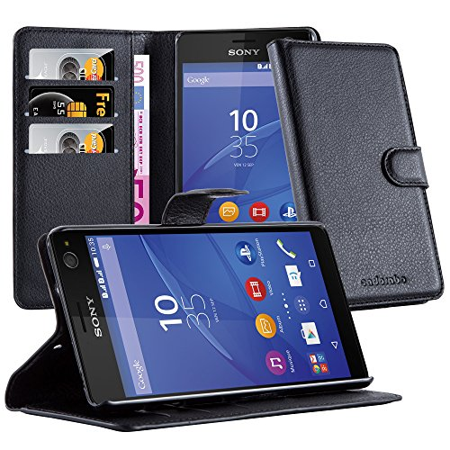 Cadorabo Hülle für Sony Xperia C4 Hülle in Phantom schwarz Handyhülle mit Kartenfach & Standfunktion Case Cover Schutzhülle Etui Tasche Book Klapp Style Phantom-Schwarz