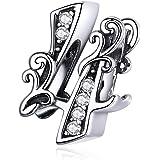 Charm in argento Sterling 925, compatibile con braccialetti Pandora, con numero fortunato a quattro numeri, gioielli da donna
