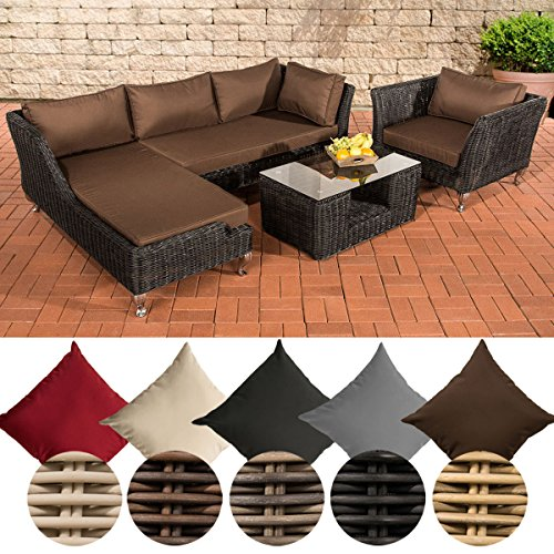 CLP Poly-Rattan Lounge Set MOSS, 5 mm RUND-Geflecht, 4 Sitzplätze, mit Ecksofa Rattan Farbe schwarz, Bezugfarbe: Terrabraun