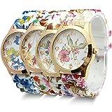 Estone-Hot-Fashion-Women-Dress-Watch-Silicone-Printed-Flower-Causal-Quartz-Wristwatches