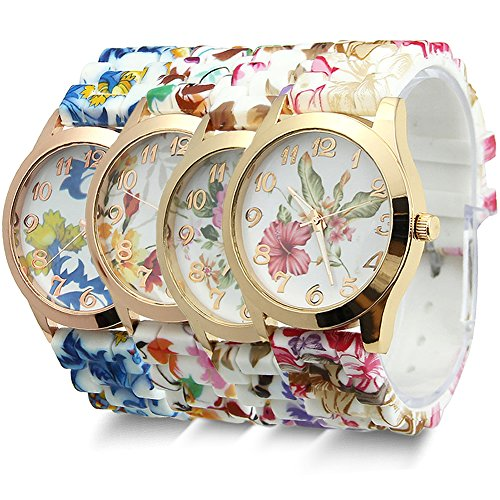 Estone-Hot-Fashion-Women-Dress-Watch-Silicone-Printed-Flower-Causal-Quartz-Wristwatches