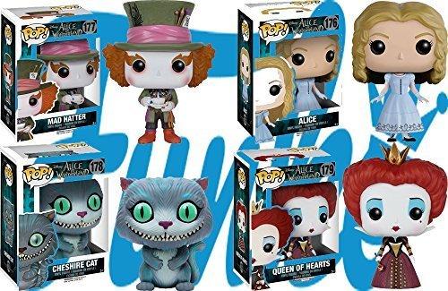 Pop! Disney: Alice in Wonderland Mad Hatter, Alice, Cheshire Cat and Queen of Hearts! Vinyl Figures Set of 4 by Disney (Cheshire Cat Und Mad Hatter)