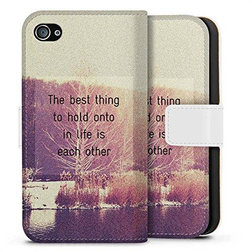 Apple iPhone X Silikon Hülle Case Schutzhülle Sprüche Bäume Liebe Sideflip Tasche weiß