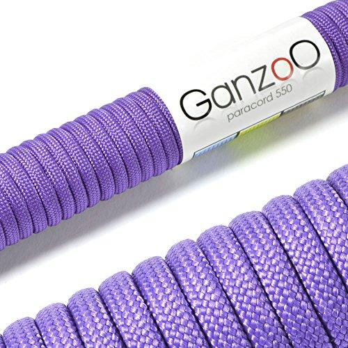 Ganzoo Paracord 550 Seil für Armband, Leine, Halsband, Nylon-Seil 15 Meter, Flieder - 15 Leinen