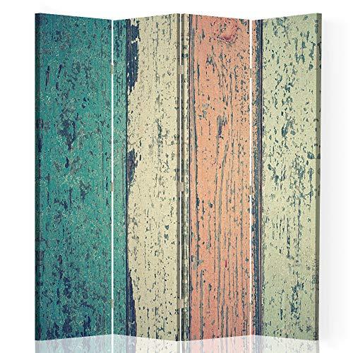 Feeby Foto Biombo Abstracción 4 Paneles Unilateral Vintage Retro Multi 145x175 cm