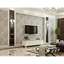 Hanmero Europeo diseño papel pintado vintage flores, no tejido papel de pared salón/habitación/hotel, color gris, 0.53M*10M