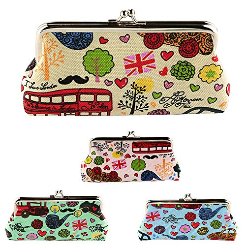 Cute Cartoon Graffiti Zero-Borsa in tela porta-chiavi porta moneta Phone a Mini-Clutch Bag beige verde