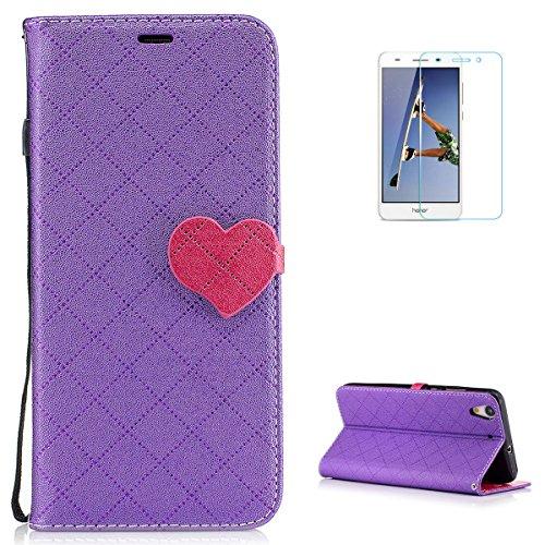 Funda Huawei Y6 II [Free Screen Protector] Moda Flip PU Billetera de Cuero Love Heart Diseño de Cierre magnético con [Card Slots] Estuche Protector Delgado con Correa de cordón - Púrpura