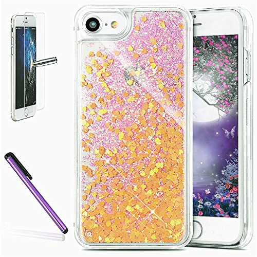 Cover rigida trasparente con liquido e brillantini, effetto 3D, per iPhone 6S Plus (2015) e iPhone 6 Plus (2014) da 5,5 pollici, con 1 pellicola salvaschermo e 1 pennino capacitivo Fluorescent Heart : Orrange