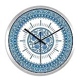 XPY-wall clock Wanduhr Retro stumme Wohnkultur Wandbehang, 12 Zoll,Schwarze Nadel Silberrahmen